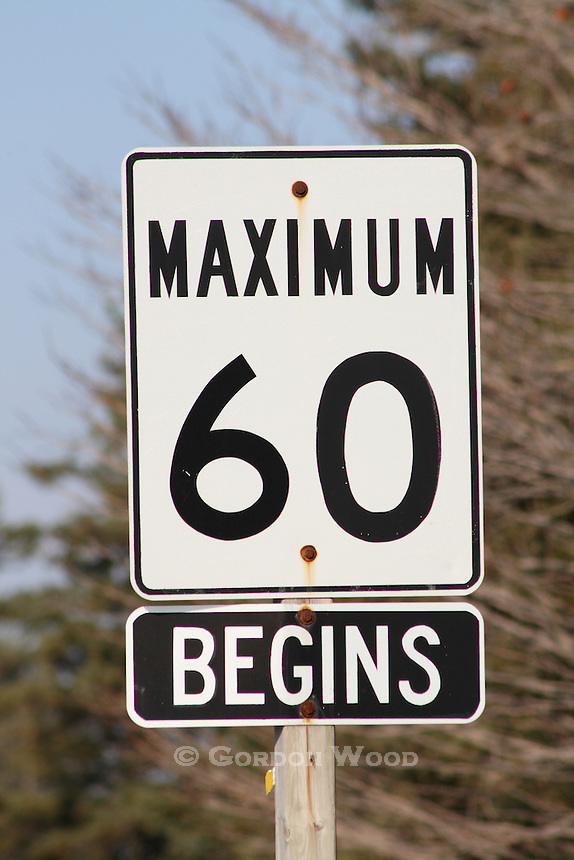 Traffic Sign for Speed Change Beginning at 60 km per hour