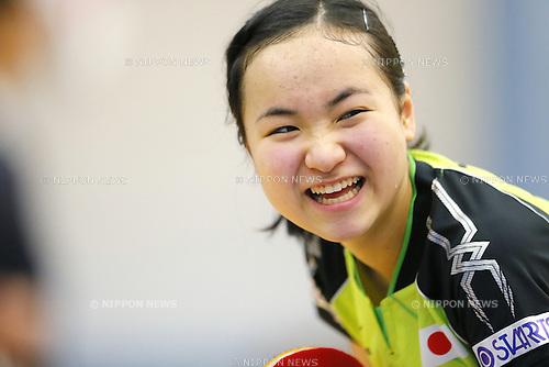Mima Ito (JPN), APRIL 22, 2015 - Table Tennis : Japan national team training session for 2015 World Table Tennis Championships in Tokyo at Ajinomoto National Training Center, Tokyo, Japan. (Photo by Yusuke NakanishiAFLO SPORT)