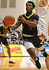 Jonathan Harewood #1 of St. Anthony's makes an acrobatic move inside the paint during NSCHSAA varsity boys basketball final against Chaminade at Hofstra University on Tuesday, Feb. 27, 2018. St. Anthony's won by a score of 63-60.