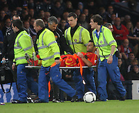 Ivan Trichkovski being stretchered from the pitch in the Scotland v Macedonia FIFA World Cup Qualifying match at Hampden Park, Glasgow on 11.9.12.