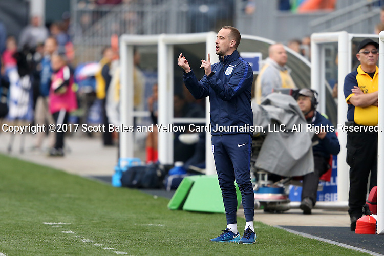 CHESTER, PA - MARCH 01: England head coach Mark Sampson. The England Women's National Team played the France Women's National Team as part of the She Believes Cup on March, 1, 2017, at Talen Engery Stadium in Chester, PA. The France won the game 2-1.