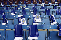Leicester City scarves laid out on the seats for the travelling supporters at Turf Moor, home of Burnley, ahead of kick-off<br /> <br /> Photographer Rich Linley/CameraSport<br /> <br /> The Premier League - Burnley v Leicester City - Saturday 16th March 2019 - Turf Moor - Burnley<br /> <br /> World Copyright © 2019 CameraSport. All rights reserved. 43 Linden Ave. Countesthorpe. Leicester. England. LE8 5PG - Tel: +44 (0) 116 277 4147 - admin@camerasport.com - www.camerasport.com