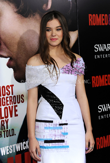 WWW.ACEPIXS.COM<br /> <br /> September 24 2013, LA<br /> <br /> Hailee Steinfeld arriving at the world premiere of 'Romeo and Juliet' at the ArcLight Hollywood on September 24, 2013 in Hollywood, California.<br /> <br /> <br /> By Line: Peter West/ACE Pictures<br /> <br /> <br /> ACE Pictures, Inc.<br /> tel: 646 769 0430<br /> Email: info@acepixs.com<br /> www.acepixs.com