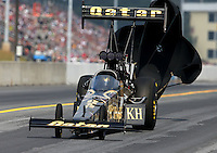Oct 6, 2013; Mohnton, PA, USA; NHRA top fuel dragster driver Khalid Albalooshi during the Auto Plus Nationals at Maple Grove Raceway. Mandatory Credit: Mark J. Rebilas-