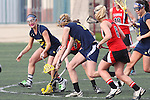 Santa Barbara, CA 02/18/12 - Jenna Dreyer (Georgia #6), Lisa Riondet (Georgia #8) and Julianne Patterson (Michigan #1) in action during the Georgia-Michigan matchup at the 2012 Santa Barbara Shootout.  Georgia defeated Michigan 12-10.