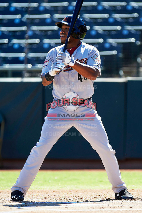 Mesa Solar Sox first baseman Jonathan Singleton #43, of the Houston Astros organization, during an Arizona Fall League game against the Phoenix Desert Dogs at Phoenix Municipal Stadium on October 19, 2012 in Phoenix, Arizona.  Phoenix defeated Mesa 10-6.  (Mike Janes/Four Seam Images)