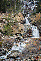 Water cascades through Tangle Falls, Jasper National Park, Alberta, Canada.