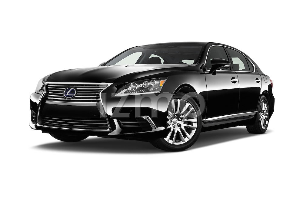 Stock pictures of low aggressive front three quarter view of 2016 Lexus LS President Line  4 Door Sedan Low Aggressive