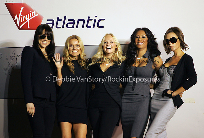 "Melanie Chisholm, Geri Halliwell, Emma Bunton, Melanie Brown, and Victoria Beckham of The Spice Girls attend The Virgin Atlantic announcement of ""Spice One"" , The jumbo jet named in honor of The Spice Girls and their world tour held at LAX in Los Angeles, California on December 12,2007                                                                                                 Copyright 2007 Debbie VanStory/RockinExposures"
