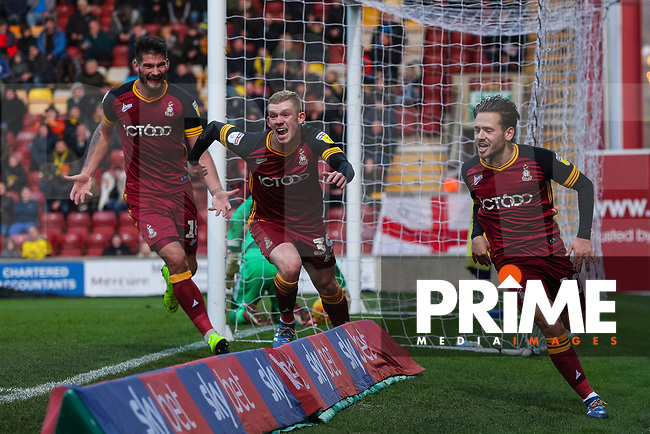 Jack Payne of Bradford City celebrates scoring during the Sky Bet League 1 match between Bradford City and Oxford United at the Northern Commercial Stadium, Bradford, England on 24 November 2018. Photo by Thomas Gadd.