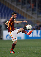 Calcio, andata degli ottavi di finale di Champions League: Roma vs Real Madrid. Roma, stadio Olimpico, 17 febbraio 2016.<br /> Roma's Alessandro Florenzi in action during the first leg round of 16 Champions League football match between Roma and Real Madrid, at Rome's Olympic stadium, 17 February 2016.<br /> UPDATE IMAGES PRESS/Isabella Bonotto