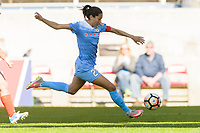 Bridgeview, IL - Saturday May 06, 2017: Christen Press during a regular season National Women's Soccer League (NWSL) match between the Chicago Red Stars and the Houston Dash at Toyota Park.