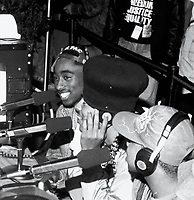 ***FILE PHOTO*** Police Reportedly Close To Arrest In Tupac Murder<br /> The Digital Underground (with Tupac Shakur) doing an interview at the KMEL Summer Jam at the Shorline Ampitheatre in Mountain View, CA.  August, 1991.<br /> CAP/MPIPJ<br /> &copy;MPIPJ/Capital Pictures