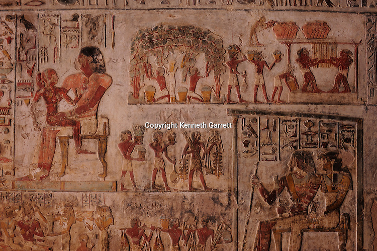 Zahi Hawass Secret Egypt Travel Guide; Egypt; archaeology; El Kab, tomb of noble, tomb of Paheri, wife Henut-er-neheh, wine harvest scene, associated with Osiris, agriculture, New Kingdom, Thutmosis III
