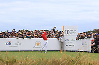 Justin Thomas (USA) on the 10th tee during the First Round - Four Ball of the Presidents Cup 2019, Royal Melbourne Golf Club, Melbourne, Victoria, Australia. 12/12/2019.<br /> Picture Thos Caffrey / Golffile.ie<br /> <br /> All photo usage must carry mandatory copyright credit (© Golffile | Thos Caffrey)