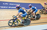 Picture by Allan McKenzie/SWpix.com - 06/01/2018 - Track Cycling - Revolution Champion Series 2017 - Round 3 - National Cycling Centre, Manchester, England - Team Inspired's Ella Barnwell & Elena Smith slingshot during the Womens Future Stars madison.
