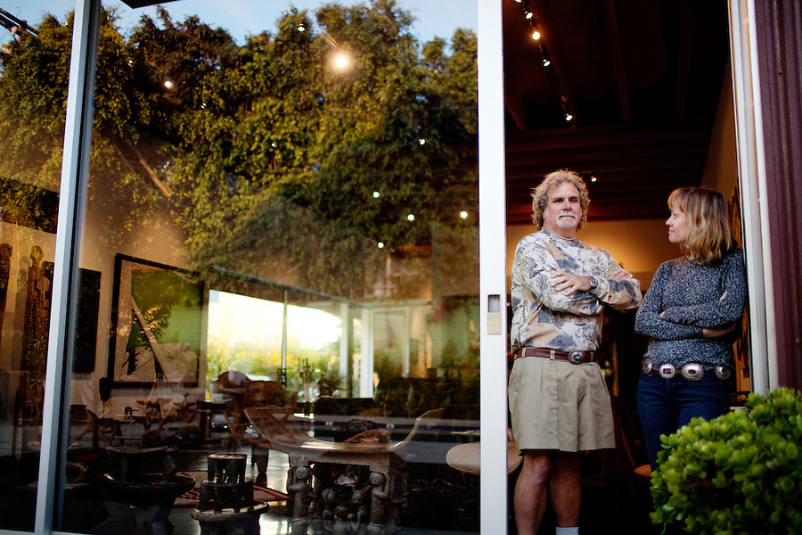 Los Angeles, California, November 14, 2009 - Portrait of Ernie and Diane Wolfe in their home, based on a Quonset hut. The Wolfe's own the Ernie Wolfe Gallery and are the most reknowned African at dealers in the country. ..CREDIT: Daryl Peveto/LUCEO for The Wall Street Journal.Homefront - Ernie Wolfe #1348