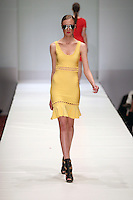 HOUSTON, TX - NOVEMBER 13 : Model walks the runway during a Hervé Léger by Max Azria show on day three of Fashion Houston Spring 2013 Presented By Audi at the Wortham Theatre Center on November 14, 2012 in Houston, Texas. (Photo by Louis Dollagaray/MediaPunch inc) /NortePhoto
