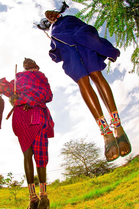 Maasai warriors doing Adumu (traditional jumping dance), Amboseli National Park, Kenya
