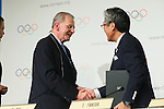 (L to R) <br />  Jacques Rogge, <br /> Tsunekazu Takeda, <br /> SEPTEMBER 7, 2013 : <br /> A press conference after Tokyo was announced as the winning city bid for the 2020 Summer Olympic Games at the 125th International Olympic Committee (IOC) session in Buenos Aires Argentina, on Saturday September 7, 2013. (Photo by YUTAKA/AFLO SPORT) [1040]