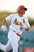 Palm Beach Cardinals right fielder Nick Plummer (21) runs to first base during a Florida State League game against the Daytona Tortugas on April 11, 2019 at Roger Dean Stadium in Jupiter, Florida.  Palm Beach defeated Daytona 6-0.  (Mike Janes/Four Seam Images)