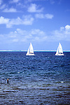 Sailboats On North Side Of Mauritius