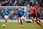 16.03.2019 Rangers v Kilmarnock: Ryan Kent, Kirk Broadfoot and a pigeon
