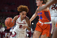 Arkansas' Alexis Tolefree drives to the basket while Florida's Kristina Moore defends Sunday Jan. 26, 2020 at Bud Walton Arena. Arkansas won 79-57 and play again on the road Thursday at Alabama. See nwaonline.com/uabball/ for a gallery of images from the game. (NWA Democrat-Gazette/J.T. Wampler)