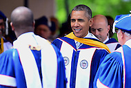 Washington, DC - May 7, 2016: U.S. President Barack Obama leaves the dais after delivering the keynote address at Howard University's 148th Commencement Convocation May 7, 2016. Obama, who also received an honorary Doctor of Sciences degree, is the sixth sitting U.S. president to deliver the commencement address at Howard.  (Photo by Don Baxter/Media Images International)