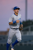 AZL Royals second baseman Kember Nacero (2) jogs off the field between innings of an Arizona League game against the AZL Giants Black at Scottsdale Stadium on August 7, 2018 in Scottsdale, Arizona. The AZL Giants Black defeated the AZL Royals by a score of 2-1. (Zachary Lucy/Four Seam Images)