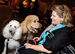 "Linda Nickels with Bear and Nova at the ""Dog Days of Summer"" Yappy Hour benefitting Citizens for Animal Protection and Golden Beginnings Golden Retriever Rescue at Hotel Derek Wednesday July 21,2010.(Dave Rossman/For the Chronicle)"