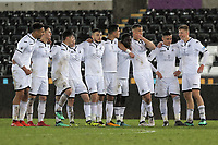 Pictured: Swansea players applaud their team mate scoring from the penalty spot. Tuesday 01 May 2018<br /> Re: Swansea U19 v Cardiff U19 FAW Youth Cup Final at the Liberty Stadium, Swansea, Wales, UK