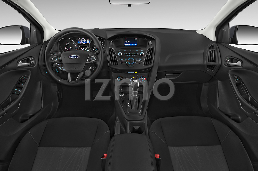 Stock photo of straight dashboard view of a 2015 Ford Focus Trend 5 Door Hatchback 2WD Dashboard