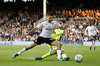 Aleksander Mitrovic of Fulham is foiled by Curtis Davies of Derby County during the Sky Bet Championship play off semi final 2nd leg match between Fulham and Derby County at Craven Cottage, London, England on 15 May 2018. Photo by Carlton Myrie / PRiME Media Images.