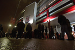 Stoke City 0 Valencia 1, 16/02/2012. Britannia Stadium, UEFA Europa League. Home supporters making their way towards the Britannia Stadium, Stoke-on-Trent, before the UEFA Europa League last 32 first leg between Stoke City and visitors Valencia. The match ended in a 1-0 victory from the visitors from Spain. Mehmet Topal scored the only goal in the first half in a match watched by a crowd of 24,185. Photo by Colin McPherson.