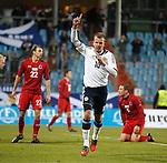 Jordan Rhodes celebrates after scoring goal no 2