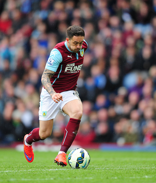 Burnley's Danny Ings<br /> <br /> Photographer Chris Vaughan/CameraSport<br /> <br /> Football - Barclays Premiership - Burnley v Leicester City - Saturday 25th April 2015 - Turf Moor - Burnley<br /> <br /> &copy; CameraSport - 43 Linden Ave. Countesthorpe. Leicester. England. LE8 5PG - Tel: +44 (0) 116 277 4147 - admin@camerasport.com - www.camerasport.com