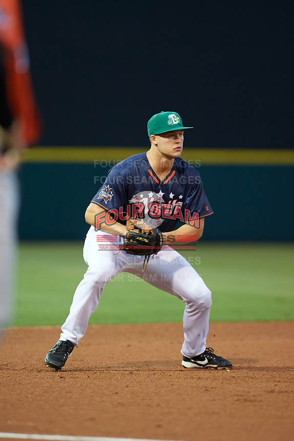 Daytona Tortugas third baseman Nick Senzel (17) fields a ground ball during the Florida State League All-Star Game on June 17, 2017 at Joker Marchant Stadium in Lakeland, Florida.  FSL North All-Stars  defeated the FSL South All-Stars  5-2.  (Mike Janes/Four Seam Images)