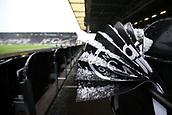 17th March 2018, Craven Cottage, London, England; EFL Championship football, Fulham versus Queens Park Rangers; Heavy snow covers the match day clappers inside Craven Cottage before kick off