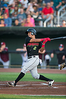 Great Falls Voyagers shortstop Lenyn Sosa (2) follows through on his swing during a Pioneer League game against the Idaho Falls Chukars at Melaleuca Field on August 18, 2018 in Idaho Falls, Idaho. The Idaho Falls Chukars defeated the Great Falls Voyagers by a score of 6-5. (Zachary Lucy/Four Seam Images)