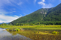 Mountains of the Cascade Range and river, Souteast of Hope, British Columbia, Canada
