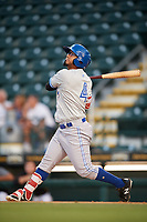 Dunedin Blue Jays left fielder Eduard Pinto (4) follows through on a swing during a game against the Bradenton Marauders on May 2, 2018 at LECOM Park in Bradenton, Florida.  Bradenton defeated Dunedin 6-3.  (Mike Janes/Four Seam Images)
