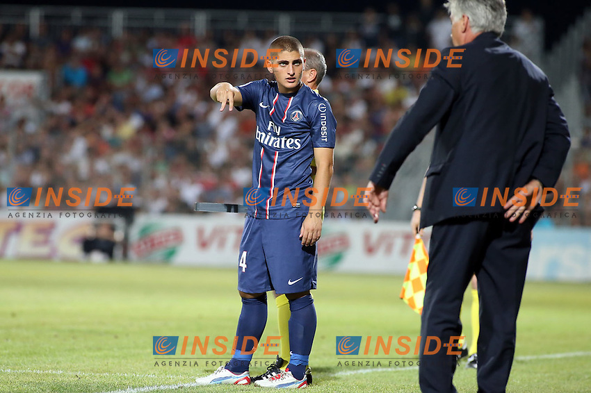 Carlo ANCELOTTI  (Entraineur du PSG) - Marco VERRATTI (PSG) .Ajaccio 19/8/2012.Football Calcio Ligue 1 2012/2013.Ajaccio Vs PSG.Foto Insidefoto / Panoramic.ITALY ONLY