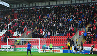 Lincoln City manager Danny Cowley applauds the travelling supporters before kick off<br /> <br /> Photographer Chris Vaughan/CameraSport<br /> <br /> The Carabao Cup First Round - Rotherham United v Lincoln City - Tuesday 8th August 2017 - New York Stadium - Rotherham<br />  <br /> World Copyright &copy; 2017 CameraSport. All rights reserved. 43 Linden Ave. Countesthorpe. Leicester. England. LE8 5PG - Tel: +44 (0) 116 277 4147 - admin@camerasport.com - www.camerasport.com