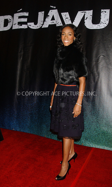 WWW.ACEPIXS.COM . . . . . ....November 20, 2006, New York City. ....Jada Pinkett Smith attends the Premiere of 'Deja Vu'. ....Please byline: KRISTIN CALLAHAN - ACEPIXS.COM.. . . . . . ..Ace Pictures, Inc:  ..(212) 243-8787 or (646) 769 0430..e-mail: info@acepixs.com..web: http://www.acepixs.com