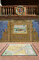 The Seville tiled Alcove along the walls of the Plaza de Espana in Seville built in 1928 for the Ibero-American Exposition of 1929, Seville Spain