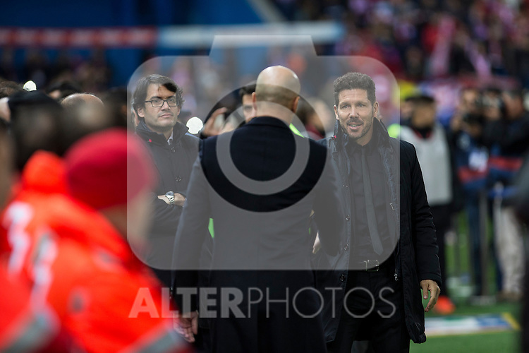 Real Madrid's coach Zinedine Zidane Atletico de Madrid's coach Diego Pablo Cholo Simeone during the match of La Liga between Atletico de Madrid and Real Madrid at Vicente Calderon Stadium  in Madrid , Spain. November 19, 2016. (ALTERPHOTOS/Rodrigo Jimenez)