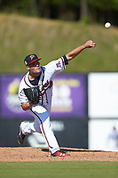 Danville Braves relief pitcher Tanner Allison (8) delivers a pitch to the plate against the Bristol Pirates at American Legion Post 325 Field on July 1, 2018 in Danville, Virginia. The Braves defeated the Pirates 3-2 in 10 innings. (Brian Westerholt/Four Seam Images)