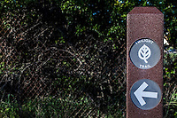 Trail marker pointing toward the Twilight Trail in Don Castro Regional Recreation Area in Hayward California.