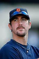Justin Verlander of the Detroit Tigers during batting practice before a game against the Los Angeles Angels in a 2007 MLB season game at Angel Stadium in Anaheim, California. (Larry Goren/Four Seam Images)